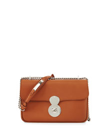 Ricky Chained Leather Shoulder Bag, Tan