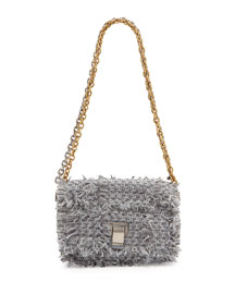 Extra-Small Courier Frayed Tweed Shoulder Bag
