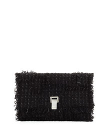 Small Lunch Frayed Tweed Clutch Bag