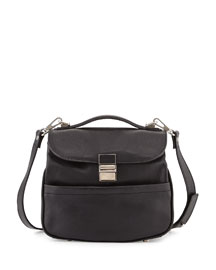 Kent Mini Leather Satchel Bag, Black