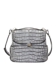 Kent Croc-Embossed Leather Shoulder Bag, Gray