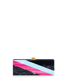 Flavia Diagonal-Striped Acrylic Clutch Bag, Navy