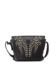 Runway Studded-Flap Messenger Bag, Black