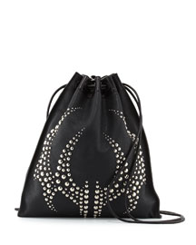 Studded Pebbled Leather Gym Sack Bag, Black