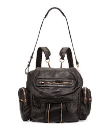 Marti Zip-Trim Leather Backpack, Black