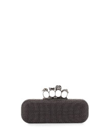 Studded Leather Knuckle Duster Clutch Bag, Black