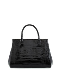 Crocodile Medium Soft Lady Bag, Black