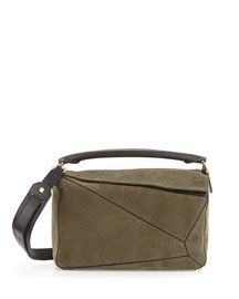 Small Suede Puzzle Shoulder Bag, Khaki