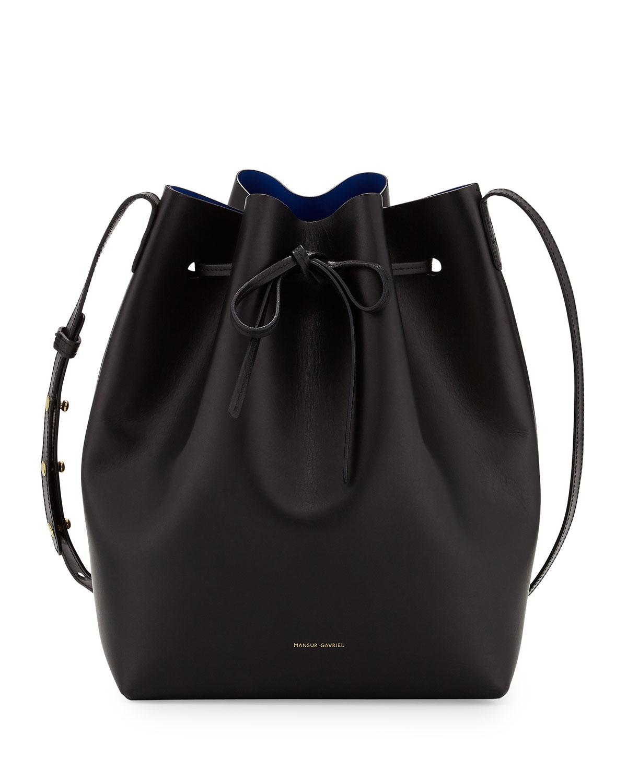 Mansur Gavriel Vegetable-Tanned Leather Bucket Bag, Black (Black/Royal)