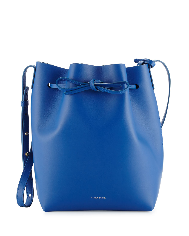 Mansur Gavriel Calf Leather Bucket Bag, White/Blue