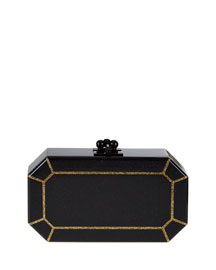 Fiona Outlined Faceted Shimmer Acrylic Clutch Bag