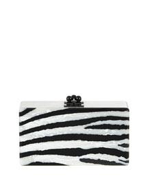 Jean Zebra Striped Acrylic Clutch Bag