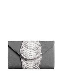 Babo Python & Lizard Clutch Bag, Gray