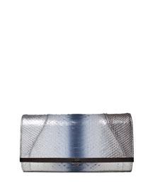 Katerine Ombre Python Clutch Bag, Silver
