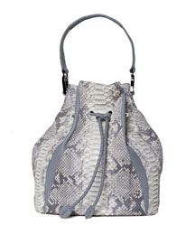 Edam Python & Leather Paneled Mini Bucket Bag, Gray