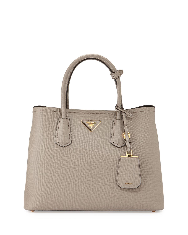 Prada Saffiano Leather Medium Tote Bag, Size: M, Gray