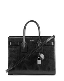Sac De Jour Lizard-Stamped Small Carryall Bag