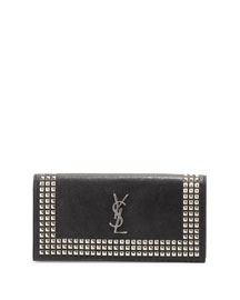 Monogram Studded Leather Clutch Bag