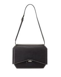 New Line Smooth Leather Shoulder Bag, Black