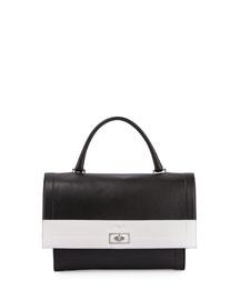 Shark Bicolor Leather Flap-Top Satchel Bag