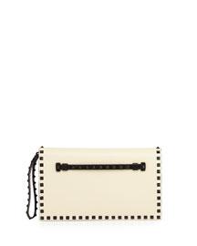 Bicolor Rockstud Leather Clutch Bag, Black/White
