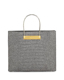 Cable-Handle Medium Croc-Embossed Flannel Shopper Bag, Gray