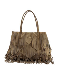 Prismick Suede Fringe Shopping Tote Bag
