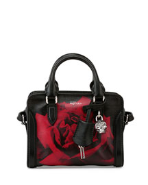 Mini Skull Padlock Rose-Print Satchel Bag