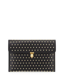 Studded Leather Envelope Clutch Bag, Black