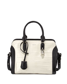 Crocodile-Embossed Medium Padlock Tote Bag, White/Black