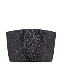 Ai Medium Pebble-Print Shoulder Tote Bag, Black