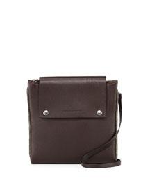 Monili Trimmed Leather Clutch Bag