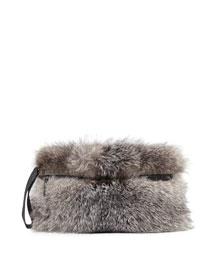 Silver Fox Fur Clutch Bag