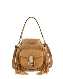 Ricky Suede Fringe Drawstring Bucket Bag, Camel