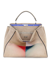 Shaded Airbrushed Suede Peekaboo Bag