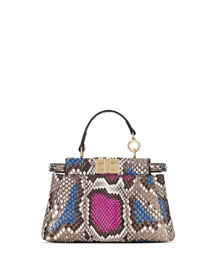 Peekaboo Micro Python Satchel Bag, Multicolor