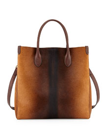 Classic North-South Calf-Hair Tote Bag, Brown Ombre