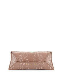 Ostrich-Leg Lace Clutch Bag, Rose