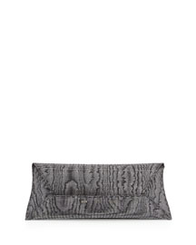 Glitz Iridescent Envelope Clutch Bag, Black/Silver