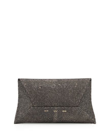 Metallic Stingray Envelope Clutch Bag, Gunmetal