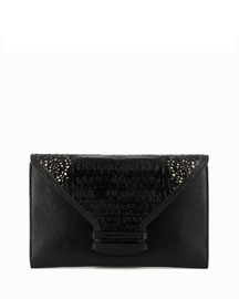 Vitello Leather Envelope Clutch Bag, Black