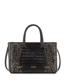 Laser-Cut Crocodile Shopper Tote Bag, Black/Nude