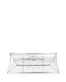 Manila Stretch Python Clutch Bag, Silver