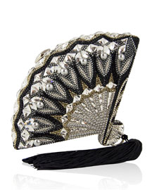 Jet Crystal-Embellished Clutch Bag, Black Pattern