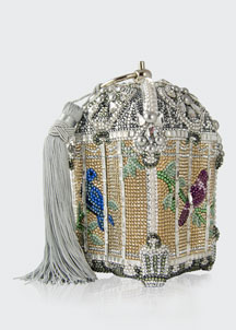 Crystal-Embellished Birdcage Clutch Bag