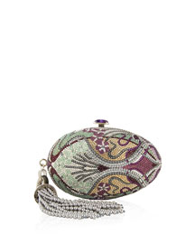 Amethyst-Clasp Crystal Egg Clutch Bag, Champagne