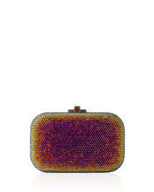 Iridescent Crystal Slide-Lock Clutch Bag
