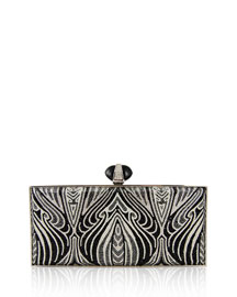 Large Coffered Rectangle Clutch Bag, Silver