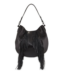 Lucky Fringe Leather Hobo Bag, Black