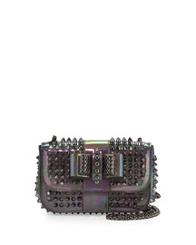 Sweet Charity Iridescent Patent Mini Crossbody Bag, Pewter/Dark Gunmetal